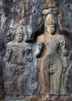 Buduruwagala Rock Carving, Sri Lanka (www.secretlanka.com) Mahayana Buddhism, Buddhist Art, Sri Lanka, Mount Rushmore, Traveling By Yourself, Trips, Past, Lion Sculpture, Carving