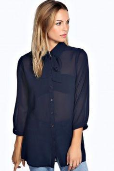 b31de273c8774 Kassie Chemise Surdimensionnée Col Noué - Chemises   Chemisiers - Tops -  Vêtements Femme White Shirts