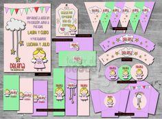 Bautismo Delfina: Diseño de Invitación, Banderines, Wrappers, envoltorios p/golosinas, Etiquetas para botellas, Caja golosinera, Circulos Multiuso y Tags para souvenir.