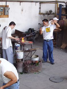 Glass Blowers  These guys were working hard at the market in Tonala.
