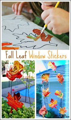 Do woth kylie Contact Paper Window Stickers - Fall Leaves. These are so fun to create and look like beautiful sun catchers hanging in your window. Autumn Activities For Kids, Fall Preschool, Fall Crafts For Kids, Preschool Crafts, Kid Crafts, Kid Activities, Autumn Crafts, Thanksgiving Crafts, Holiday Crafts