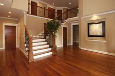 House living room with stairs and living room stairs home design ideas 2018 staircase design Cherry Hardwood Flooring, Hardwood Floor Colors, Cherry Wood Floors, Painted Wood Floors, Laminate Flooring, Engineered Hardwood, Mahogany Flooring, Flooring Sale, Wood Laminate