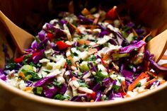 Cabbage and Mixed Vegetable Salad with Lemon Tahini Dressing. From Oh She Glows.