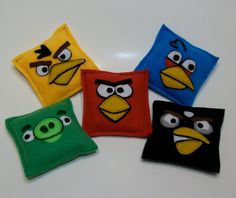 Set of 5 Angry Bird Inspired Bean Bags by JustSEWSpecial on Etsy, $15.00