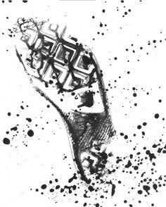 travel / shoeprint / converse / splatter / black / white / contrast / alternative / process