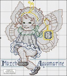Toddler Birthstone Fairy March Aquamarine Cross Stitch Pattern 2/5