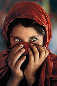 Afghan Girl Hiding Her Face, Peshawar, Pakistan | From a unique collection of portrait photography at https://www.1stdibs.com/art/photography/portrait-photography/