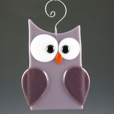 Fused Glass Owl Suncatcher Lilac & Purple by AngelasGlassStudio, $13.00