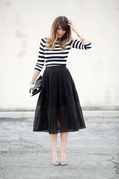 stripes on stripes on stripes: Tibi full skirt, Bailey44 crop top, Alice & Olivia pumps #StreetStyle