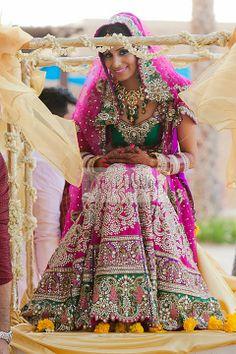 Sparkling Magenta Stonework Bridal Lehenga