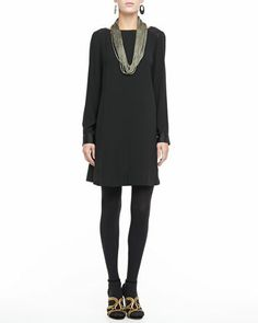 Washable Long-Sleeve Dress & Sparkle Knit Scarf Necklace, Petite by Eileen Fisher at Neiman Marcus.