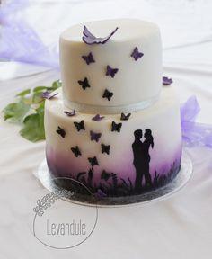 Wedding cake for my friend Superhero Cupcake Toppers, 25 Anniversary Cake, Butterfly Wedding Cake, Airbrush Cake, Doughnut Cake, Engagement Cakes, Beautiful Wedding Cakes, Wedding Cupcakes, Cake Tins