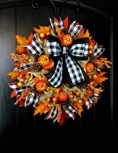 beautiful fall wreath ideas for your front door to look amazing page 49 Fall Mesh Wreaths, Autumn Wreaths, Holiday Wreaths, Door Wreaths, Etsy Wreaths, Ribbon Wreaths, Halloween Wreaths, Floral Wreaths, Burlap Wreaths
