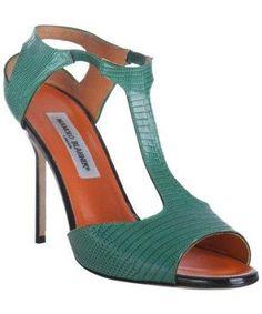 Manolo Blahnik green lizard skin peep toe t-strap sandals