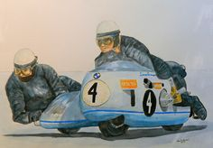 Siegfried Schauzu and Horst Schneider, BMW 750, Isle of Man TT, 1970. 14x17, watercolor, sep 16, 2015. Between 1967 and 1975 Schauzu, with the passengers Horst Schneider and Wolfgang Kalauch, was victorious at the Isle of Man nine times.