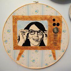 Tina Fey embroidery hoop.