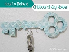 How to Make a Chipboard Key Holder - Life With Lovebugs Inexpensive Home Decor, Love Bugs, Chipboard, Easy Diy Projects, Diy Tutorial, Gift Tags, Cricut, Key, How To Make