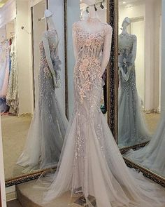 AHP0112 New Arrival Gray Tulle High Neck Appliques Train Prom Dresses 2017