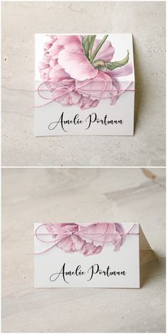 See lauren conrad and william tells wedding album pinterest wedding place card with floral printing and addition of twine weddingideas stopboris Gallery