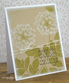 Love & Laugh Card ... white and olive stamped on craft ... luv the huge flowers ...