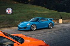 Orange Porsche 911 and Blue GT3