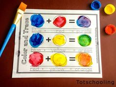FREE printable activities for preschool and kindergarten kids to learn about primary and secondary colors, color mixing and color words while having fun with paint! Also includes coloring pages, puzzles, color charts and word tracing. Color Activities Kindergarten, Preschool Color Theme, Kindergarten Art Projects, Preschool Lessons, Preschool Learning, Preschool Activities, Toddler Preschool, Colour Activities For Preschoolers, Teaching