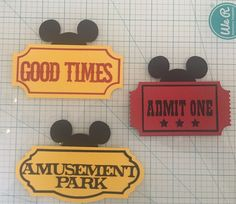 Cricut Die Cut Disney Mickey Ears And Tickets Paper Piecing #Cricut