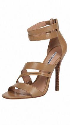 """Strappy Cross Over Sandal: -  4"""" heel.   Zip closure."""