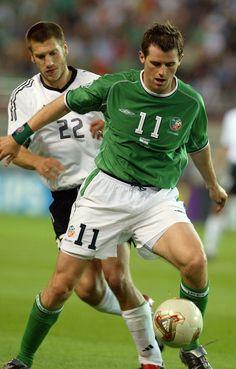 Germany 1 Rep of Ireland 1 in 2002 in Ibaraki. Kevin Kilbane holds off Torsten Frings in Group E #WorldCupFinals