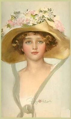 Innocence - Lady in straw hat with roses on it.