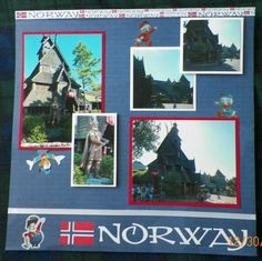 Handmade Scrapbook Layout:  Norway, Epcot, Disneyworld