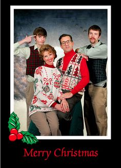 Bad sweater Christmas card from Theresa Thompson- she's my ideal for retro photos!