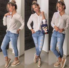 43 Latest Jeans Outfits Ideas For Spring Although jeans are a year-round part of our casual wardrobe, nothing beats the feeling of having a new pair as […] Spring Work Outfits, Spring Fashion Outfits, Fashion Pants, Fall Outfits, Dinner Outfits, Dress Fashion, Casual Chic Style, Look Chic, Work Casual