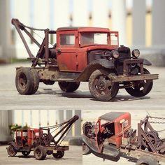 Ford-AA Tow Truck. Modeler Sailor at Rilroad line forums #scalemodel #plastimodelismo #miniatura #miniature #maquette #modelismo #modelisme #modelism #miniatur #plasticmodel #plastimodelo #ford #truck #caminhão #passatempo #tiempolibre #ミニチュア #моделизм