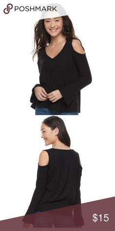 Juniors' SO® Cozy Cold-Shoulder Top Stay fashionable this winter in this juniors' cozy cold-shoulder top from SO.  PRODUCT FEATURES  Cold-shoulder detail Ribbed design Long bell sleeves V-neck FABRIC & CARE  Polyester, rayon, spandex Machine wash Imported  NWOT SO Tops Blouses