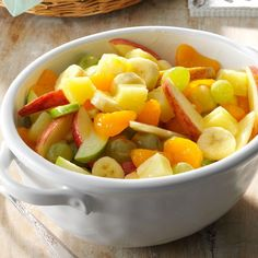 This appealing fruit salad is a lovely addition to breakfast, lunch or even supper. Light and refreshing, it's perfect alongside egg bakes, sausages and other hearty staples you find on breakfast buffets. —Millie Vickery, Lena, Illinois Brunch Fruit Salad Recipe, Fruit Salad With Pudding, Fruit Salad Recipes, Fruit Salads, Breakfast Fruit Salad, Brunch Salad, Jello Salads, Dessert Salads, Fruit Drinks