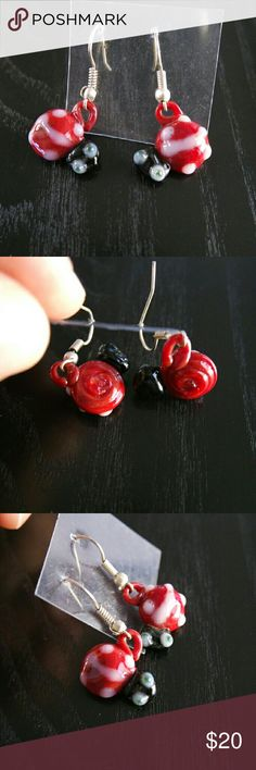 Ladybug shaped glass earrings from Mexico These one of a kind earrings are each hand made by Mexican artisans in the state of Jalisco.  #mexican  #artisan  #handmade  #glass   ***Note: there may be slight differences on each earing due to it being handmade*** Jewelry Earrings