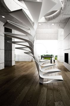 Disguincio & Co has developed a concept for a spiral staircase design that made ​​of fiberglass . The Folio spiral stairs design consists of a sequence of steps that slot together Modern Staircase, Staircase Design, White Staircase, Staircase Ideas, Spiral Staircases, Stair Design, Staircase Outdoor, Luxury Staircase, Railing Design