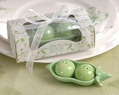 Two Peas in a Pod - Ceramic Salt & Pepper Shakers in Ivy Print Gift Box-Hand-painted in garden green, Kate Aspen's ceramic salt and pepper shakers add some zip to the saying two peas in a pod! The sweet details and charming gift presentation bring Unique Wedding Favors, Unique Weddings, Country Weddings, Diy Wedding, Wedding Decorations, Bridal Shower Games, Baby Shower Favors, Country Wedding Inspiration, Kate Aspen
