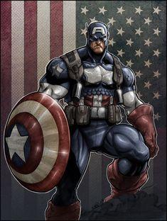 Captain America artwork by Eddie Nuñez and Mike Spicer Comics Anime, Marvel Comics Art, Marvel Heroes, Marvel Avengers, Capitan America Marvel, Captain America Art, Comic Books Art, Comic Art, Wolverine
