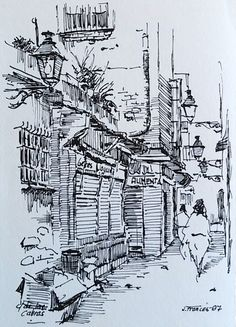 Carrer de les Cabres, Barcelona. Joaquim Francés - ink sketch