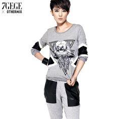 free   shipping Patchwork PU long-sleeve o-neck sweatshirt 3ml4025e