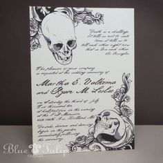 "Ordered invitations... this is an ""example"" Baroque Elegance Skull Invitations. $3.50, via Etsy."