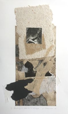 Elaine d'Esterre - Touching the Lake Bed at Mungo, 2016, etching collage, and collagraph with hand made paper, 60x35 cm. Also at http://elainedesterreart.com/ and http://www.facebook.com/elainedesterreart/ and http://instagram.com/desterreart/