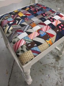 This charming chair seat is covered in neckties woven together. 2019 This charming chair seat is covered in neckties woven together. The post This charming chair seat is covered in neckties woven together. 2019 appeared first on Quilt Decor. Fabric Crafts, Sewing Crafts, Sewing Projects, Tie Pillows, Cushions, Furniture Makeover, Diy Furniture, Mens Ties Crafts, Neck Tie Crafts