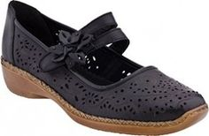 The Rieker Doris 72 is a comfortable and women's shoe with a low heel and a flower accent on the strap.