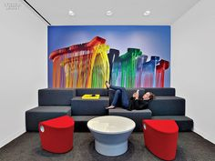 Avery Dennison HQ Office. HOK collaborated with IDa Design on the seating and table in a break-out area. #office large company