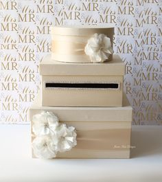 Wedding Card Box  Sold on etsy but could be a diy with shoe boxes, paper/fabric, ribbon, and flowers.