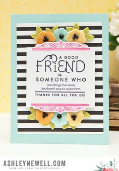 Patterns Challenge: A Good Friend Card by Ashley Cannon Newell for Papertrey Ink (August 2015)