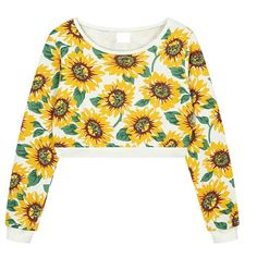 The cropped sweatshirt featuring daisy print.Sweatshirt with daisy print. Crop Shirt, Sweater Shirt, Sunflower Pattern, Sweater Weather, Printed Shirts, Cute Outfits, Trending Outfits, Crop Tops, Sweatshirts